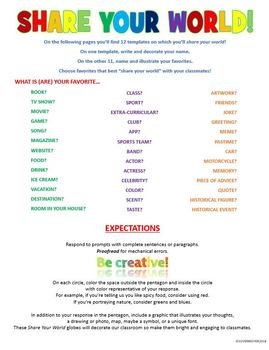 BACK TO SCHOOL Share Your World Creative Activity
