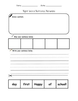 BACK TO SCHOOL Sight Word Sentence Scramble
