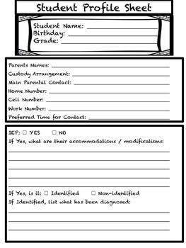 BACK TO SCHOOL Student Information Sheet FREEBIE