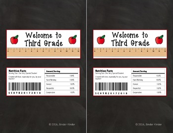 Back to School Chocolate Bar Wrappers-Third Grade