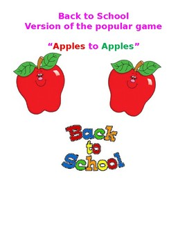 BACK TO SCHOOL VERSION OF APPLES TO APPLES GAME!