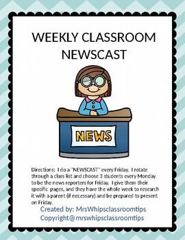 BACK TO SCHOOL - WEEKLY CLASSROOM NEWSCAST! (ELEMENTARY LEVEL). Editable!