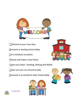 BACK TO SCHOOL - WELCOME FIRST DAY OF SCHOOL - ORIGINAL POEM