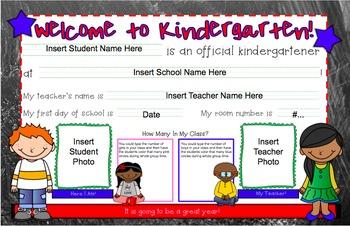 Back to School Welcome Mats--Kindergarten