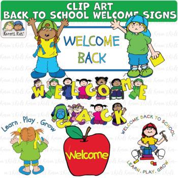 BACK TO SCHOOL WELCOME SIGNS Clip Art (Karen's Kids)