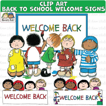 Back to school student. Clip art welcome signs