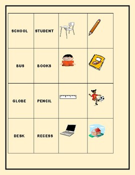 BACK TO SCHOOL WORD- MATCH TILES: A VOCABULARY LEARNING GAME