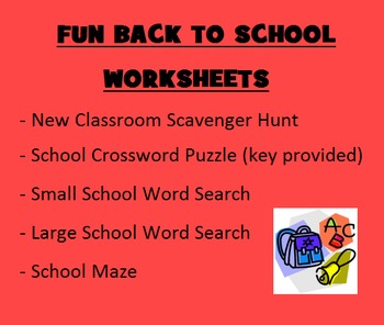 BACK TO SCHOOL WORKSHEETS - Scavenger Hunt, Puzzles, Etc.