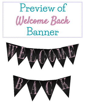 Freebie! Back to School Welcome Chalkboard Banner Pink Funky Font