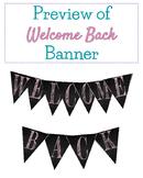 FREEBIE! Back to School Welcome Chalkboard Banner Pink Funky Font