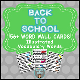 BACK TO SCHOOL Word Wall Vocabulary Cards ~ 56 Black & Whi