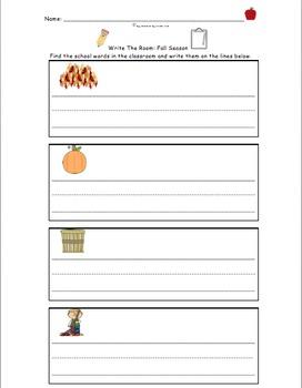 BACK TO SCHOOL! Write the Room FREEBIE! Fall Season Included