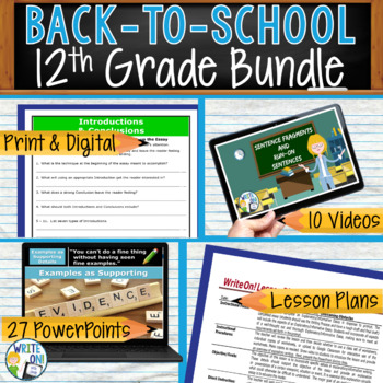 WRITING & GRAMMAR - BACK TO SCHOOL ENGLISH BUNDLE!!! - 12th Grade