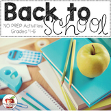 BACK TO SCHOOL Activities for Grades 4 to 6