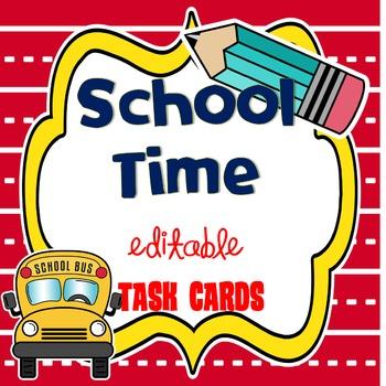 BACK TO SCHOOL {editable} TASK CARDS ~ Freebie :)
