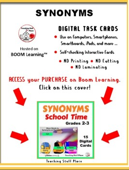 BACK to SCHOOL SYNONYMS ... Grades 2-3 Vocabulary  Paperless Internet Deck
