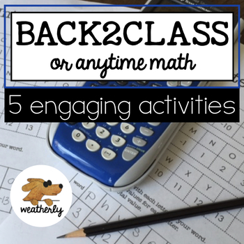 BACK to SCHOOL activities - algebra skills
