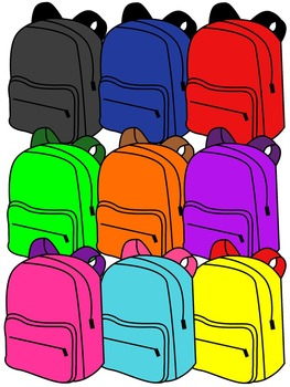 BACKPACK CLIP ART * COLOR AND BLACK AND WHITE