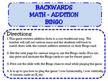 BACKWARDS MATH BINGO BUNDLE-- 4 GAMES INCLUDED