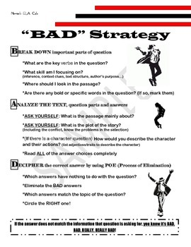 """STAAR Reading Questions Strategy for Think-Alouds! """"BAD"""""""