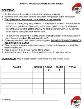 BAD TO THE BONES: CARD GAME TO LEARN BONES OF SKELETON