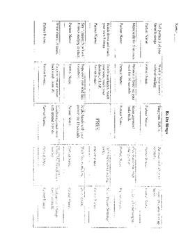 BADA BINGO (A Get to know you activity)