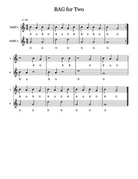 BAG for TWO (Beginning recorder duet)