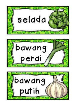 BAHASA INDONESIA vegetables vegies WORD WALL flashcards