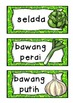 BAHASA INDONESIA vegetables vegies WORD WALL flashcards