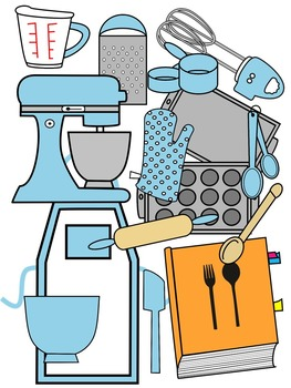 BAKING CLIP ART * BABY BLUE AND BLACK AND WHITE