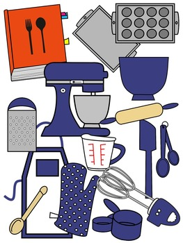 BAKING CLIP ART * BLUE AND BLACK AND WHITE