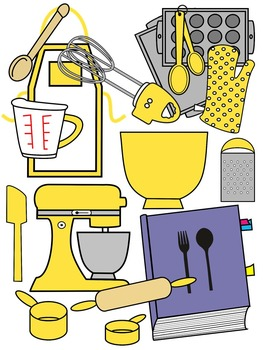 BAKING CLIP ART * LEMON AND BLACK AND WHTIE