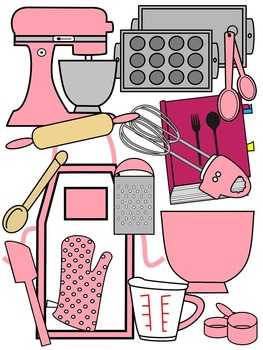 BAKING CLIP ART * PINK AND BLACK AND WHITE