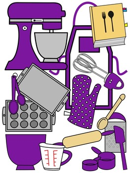 BAKING CLIP ART * PURPLE AND BLACK AND WHITE