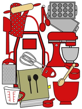 BAKING CLIP ART * RED AND BLACK AND WHITE