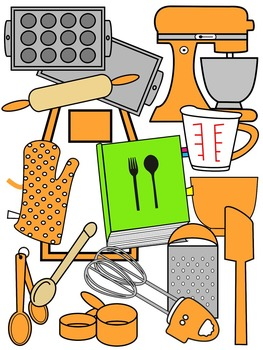BAKING CLIP ART * TANGERINE AND BLACK AND WHITE