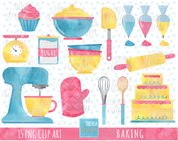 BAKING CLIPART, CAKE, CUPCAKE, WATERCOLOR, KITCHEN SUPPLIES