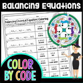 Balancing Chemical Equations Science Color By Number or Quiz - Winter Theme