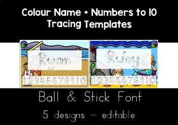 BALL & STICK  FONT colour name + numbers to 10 tracing templates EDITABLE