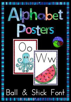 BALL & STICK font  watercolor alphabet posters  ~ print, laminate and display!