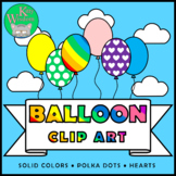 BALLOONS Clip Art Set - 17 Colors Plus Rainbow and Black a