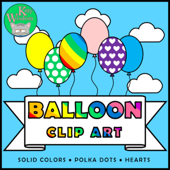 BALLOONS Clip Art Set - Rainbow Colors Hearts Polka Dots + Black & White