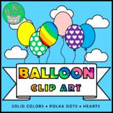 BALLOONS Clip Art Set - Rainbow Colors Hearts Polka Dots +