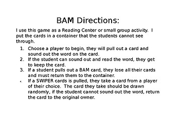 BAM Game - Blending, Letters from Unit 1 Week 1 - Unit 4 Week 1