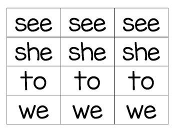 BAM Kindergarten Sight Word Game
