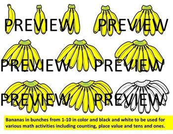 Place value clipart & ten frames -Bananas