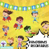 BANDERINES BIENVENIDOS Y RECORTABLES- Pack Decoración Cómic- Superhéroe