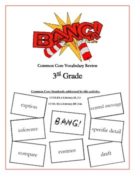 """BANG!"" 3rd Grade Common Core ELA Vocabulary Packet"