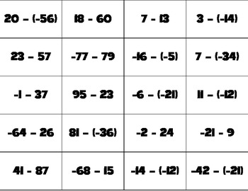 BANG: Adding and Subtracting Integers
