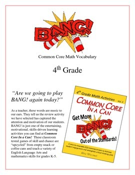 """BANG!"" Common Core Math Vocabulary 4th Grade Game Packet"